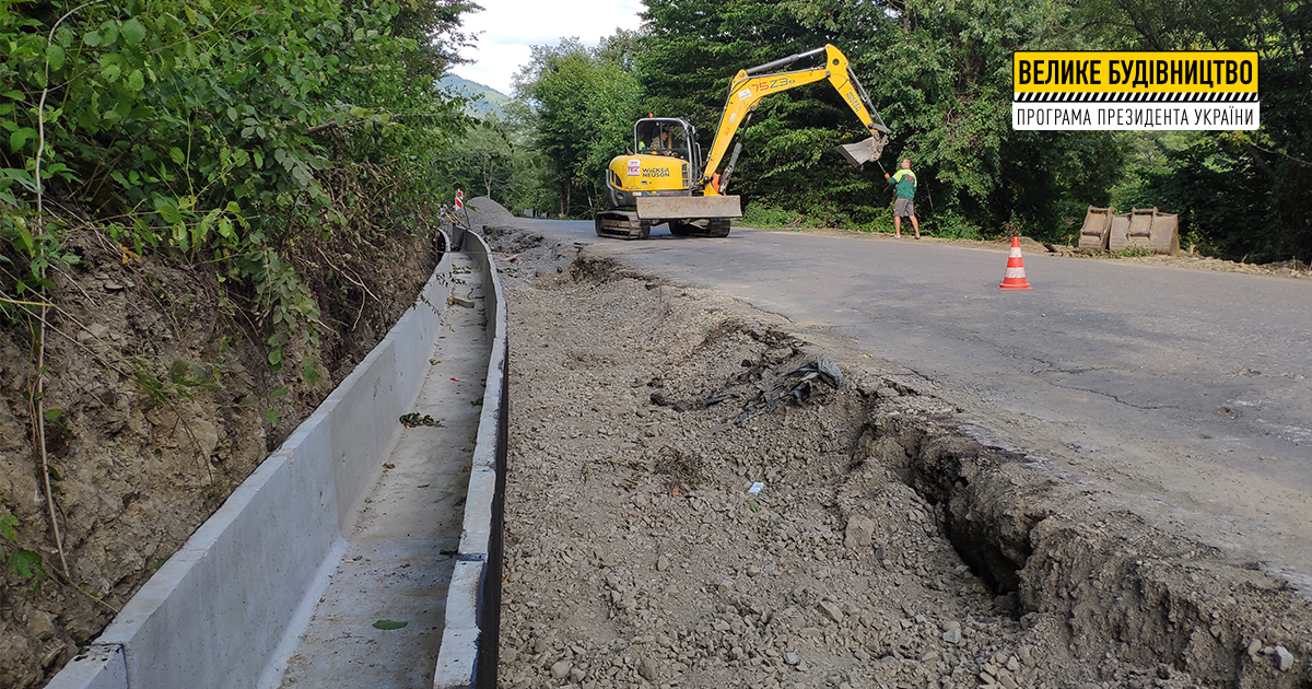 У межах ремонту дороги в Нижньому Бистрому встановлюють водостічні лотки